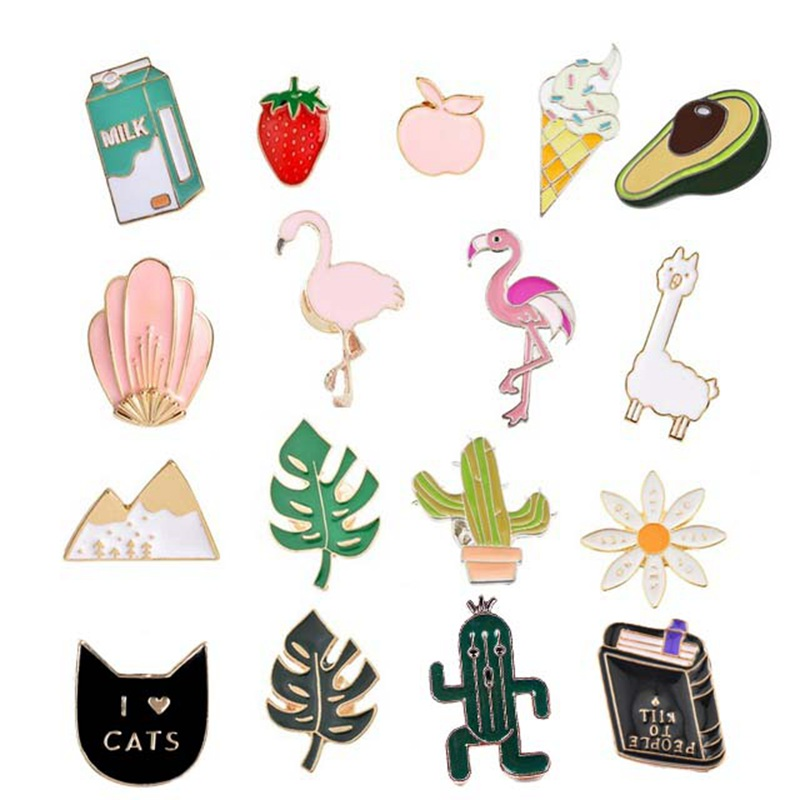 Hoomall 1pc Drop Oil Brooches Badges For Clothing DIY Hawaii Plant Cactus Cartoon Animal Letter Cute Lovely Clothes Accessories(China)