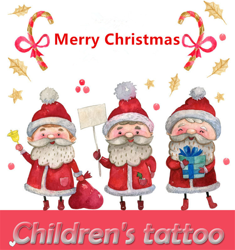 5pcs Cartoon Hats Merry Christmas Children's Temporary Tattoos Stickers Santa  Tattoo Decals Waterproof Tattoos  Cartoon Hats