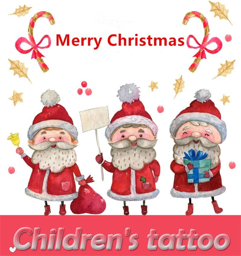 5pcs Cartoon Hats Merry Christmas Children's Temporary Tattoos Stickers Santa  Tattoo Decals Waterproof Tattoos  Cartoon Hats
