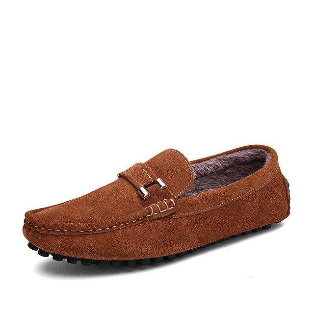 38-46 Winter Shoes Men Plush Warm Winter Men Shoes Casual Suede Slip On Plus Size
