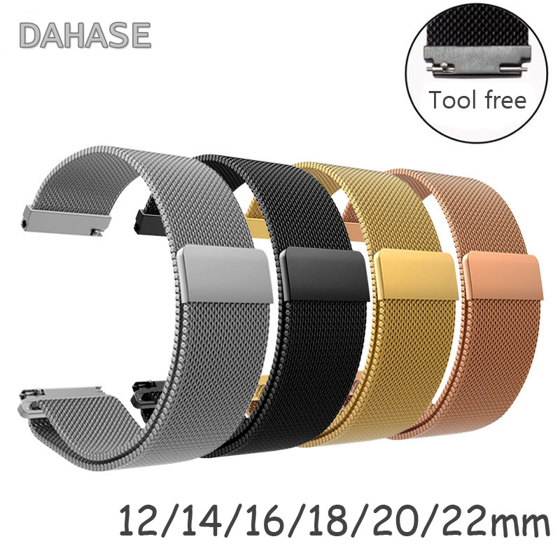 Universal <font><b>Magnetic</b></font> Closure Milanese Loop Strap Watch Band Stainless Steel Wrist <font><b>Watchband</b></font> Bracelet 12mm 14mm 16mm 18mm <font><b>20mm</b></font> 22mm image