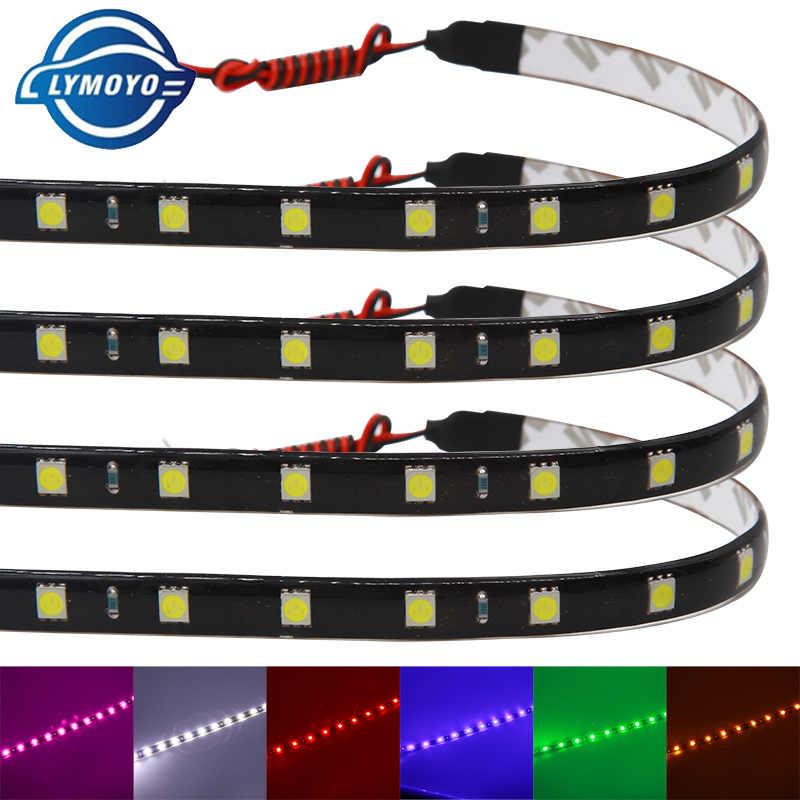 1 adet 30cm 60cm araba oto dekoratif lamba renkli LED şerit 5050 esnek şerit ışıklı bant gündüz farları DRL melek gözler