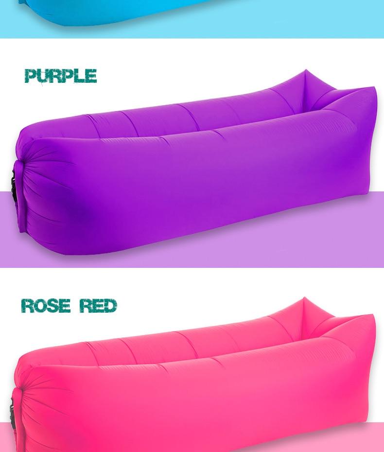 Gonflable chaise longue air Canapé Lit de plage étanche Chaise Sac W Side Rose Taille Unique