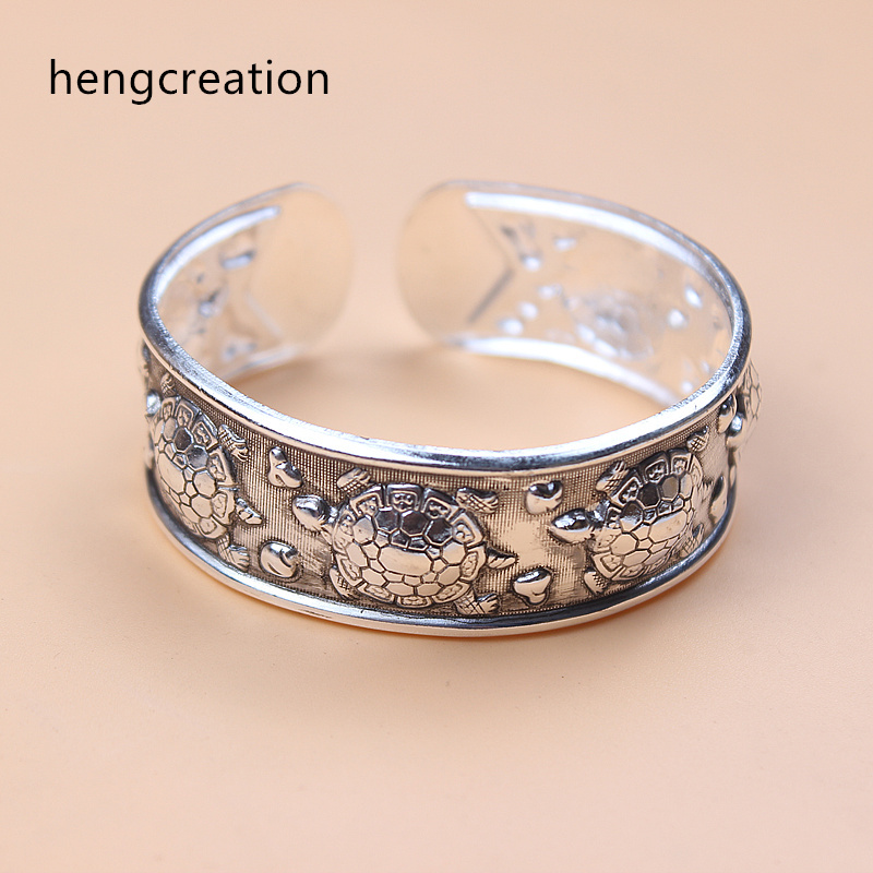 hengcreation boho antic silver cuff bangle bohemia antalya carve pattern statement bangle