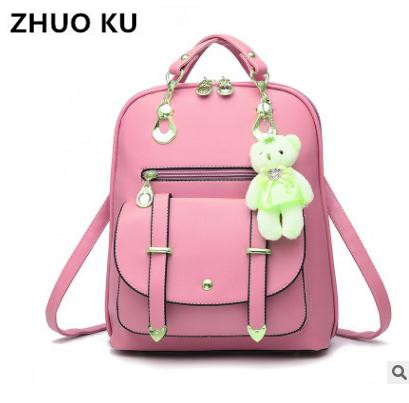 zhuoku100% Genuine leather Women backpack 2017 New female spring and summer new student backpack large capacity bag Korean women подставка для колец koziol wow 5 10 14 4 21 6 см белый