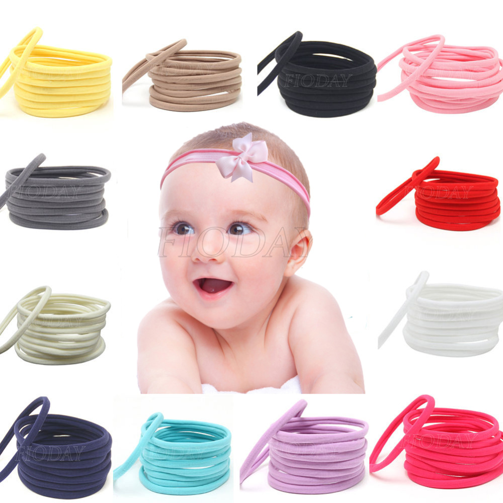 10Pcs/Set Nylon Headband for Baby Girl Hair Accessories Elastic Head Band Kid Children Fashion Headwear 12pc set elastic hair rubber band children hair unicorn headband kids hair accessories gril hair band set cute unicorn cartoon