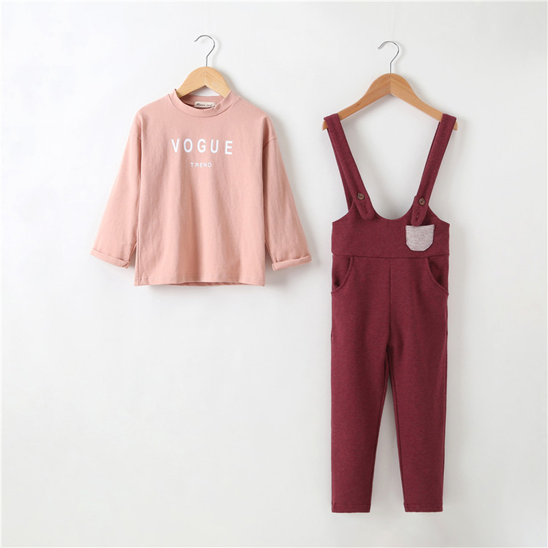 Brand New Spring Autumn Sets Casual Cotton T-shirt & Overalls Baby Girl Clothing Suits Kids Bebes Clothes for 3-14Years CA316 2017 spring newborn baby girl casual cotton clothing set butterfly t shirt floral leggings infant bebe suits clothes sets