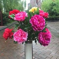 길이 120 센치메터/수제 큰 장식 인공 꽃 5 개 모란 녹색 잎 파티 웨딩 호텔 정원 축제 DIY 화환