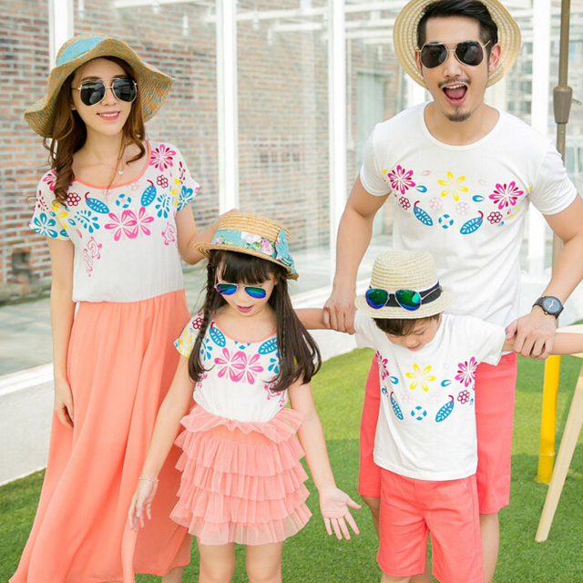 b15fba7e54d Family Matching Outfits Mother and Daughter Matching Dress Fashion Family  Clothing Father Son Clothes Family Clothing