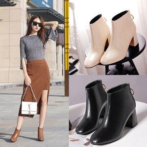 Image 3 - 2018 קוריאני גרסה של ניו נשים של מגפיים, את חזרה רוכסנים עם עבה עקבים קצר מגפיים קצר מגפי ואת גאות של מגפיים חשופים