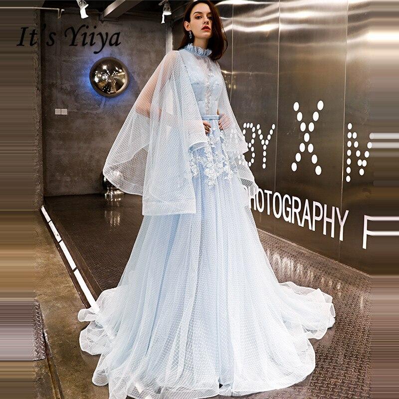 It's YiiYa Evening Dress 2019 Plus Size Fashion Elegant Big Sleeve Prom Dresses Appliques Lace Up Train Robe De Soiree LX1408