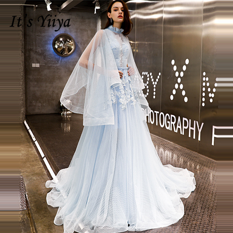 It's YiiYa   Evening     Dress   2019 Fashion Big Sleeve Sky Blue Appliques Lace Up Illusion Train   Evening   Gowns LX1408 robe de soiree