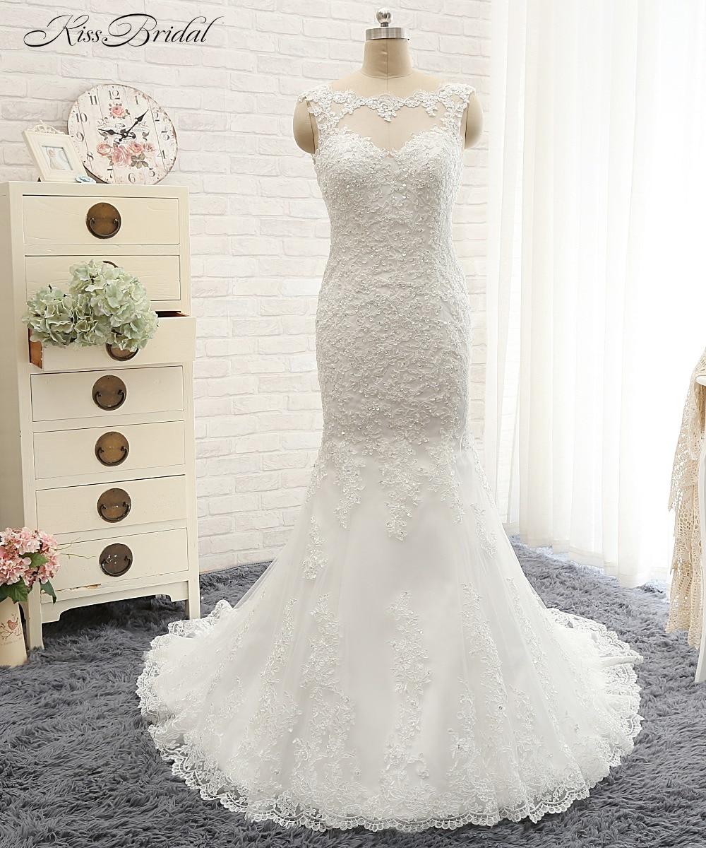 Nova Chegada Vestido de Noiva Sexy 2017 O-pescoço Mangas Compridas Tribunal Train Lace Satin Mermaid Vestidos de Noiva Botão Voltar Robe de mariage
