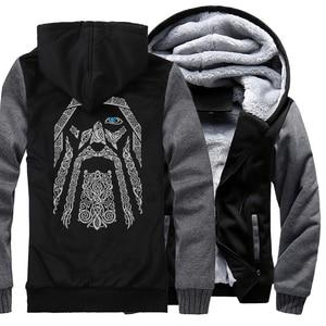 Image 3 - Winter Sweatshirt Raglan Print Jas Trainingspak Odin Vikings Truien Voor Mannen 2019 Nieuwe Mode Wollen Voering Camouflage Mouw Jassen