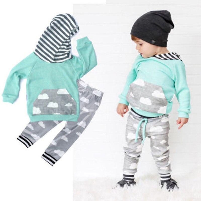 2Pcs Baby font b Clothing b font Sets Boy Long Sleeve Hoodie Pant font b Kids