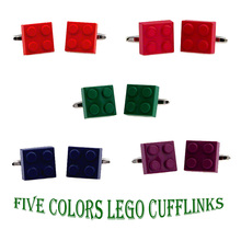hot deal buy lepton fashion classic lego cufflinks,5 design colors kont  cufflink gift cuff links for men's,wholesale promotion #6536