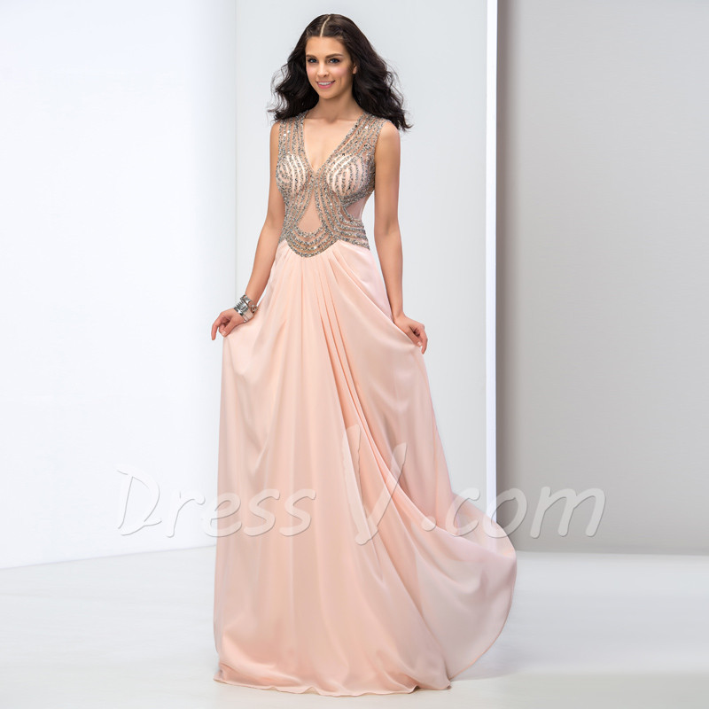 Dazzling Long Pearl Pink Prom Dresses 2015 Sexy See Through Beaded ...