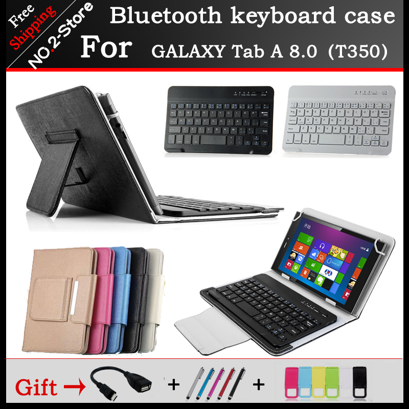 Portable Bluetooth Keyboard Case For Sumsung GALAXY Tab A 8.0 T350/T355 8.0 inch Tablet PC ,Free carved Language portable wireless bluetooth keyboard case for sumsung galaxy tab a 9 7 t550 t555 9 7 inch tablet pc free shipping gift