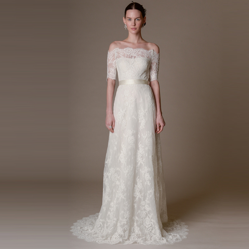 2017 Spring Off Shoulder Boat Neck Bridal Gowns A Line