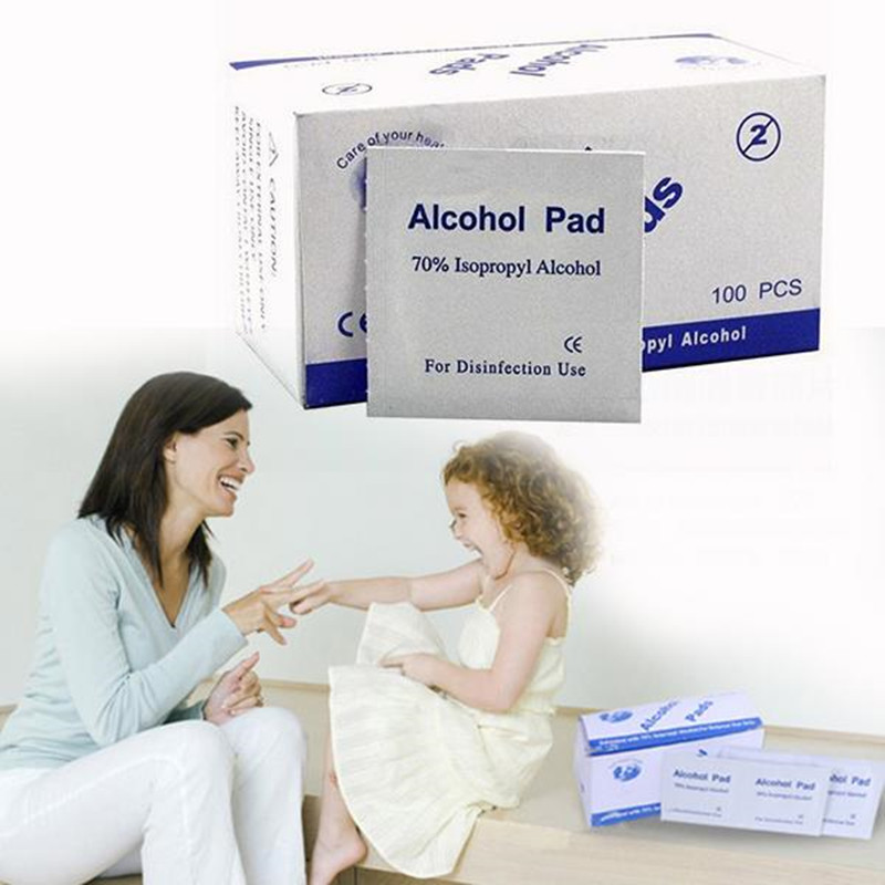 Portable Multi Useful 100pcs/Box Alcohol Swabs Pads Wipes Skin Cleanser Sterilization 70% Isopropyl First Aid Home