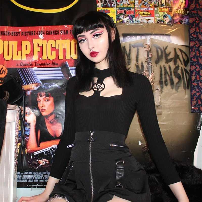 Готический укороченный топ с черным верхом полая звезда Для женщин футболка с длинным рукавом, топы, осенняя одежда Косплэй уличная Повседневное Hipster вечерние пикантные футболка