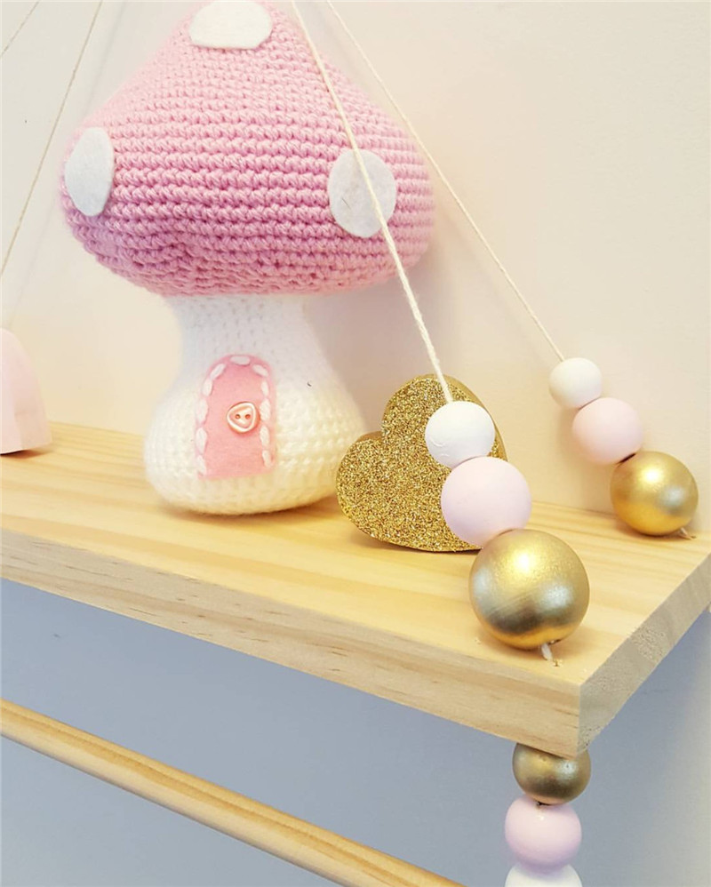 Nordic Baby Room Wooden Beads Wall Shelf Storage Wall Decorations ...