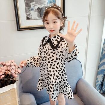 c21e199b Girl Dresses Long Sleeve Princess 2019 Spring Kids Chiffon Print Turn Down  Collar Ruffles Party Dress Children Costume 2-8T