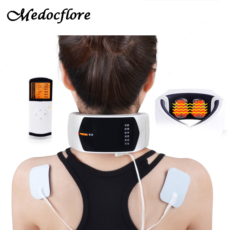 Wireless Remote Control  Neck Massager Far Infrared Heat Therapy For Neck Massage Neck Pillow Pain Relief Machine Health Care pop relax tourmaline health products prostate massager for men pain relief 3 balls germanium stone far infrared therapy heater
