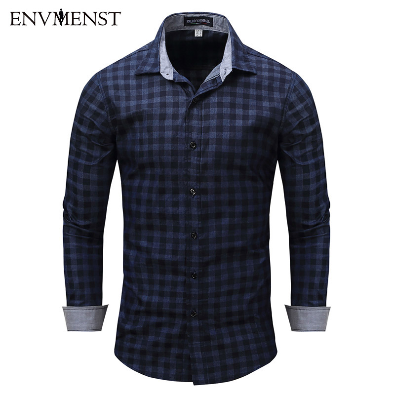 Envmenst 2017 New Fashion Casual Men Denim Shirt Long Sleeve Slim Fit Plaid Shirt High Quality Causal Mens  Shirts