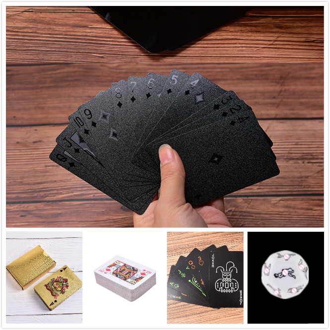 Black Playing Cards Plastic Cards Collection Black Diamond Poker Cards Creative Gift Standard Playing Cards Dice Waterproof