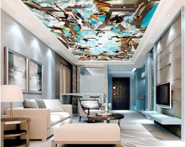 Custom photo 3d ceiling murals wall paper playing football star sky decor painting 3d wall murals