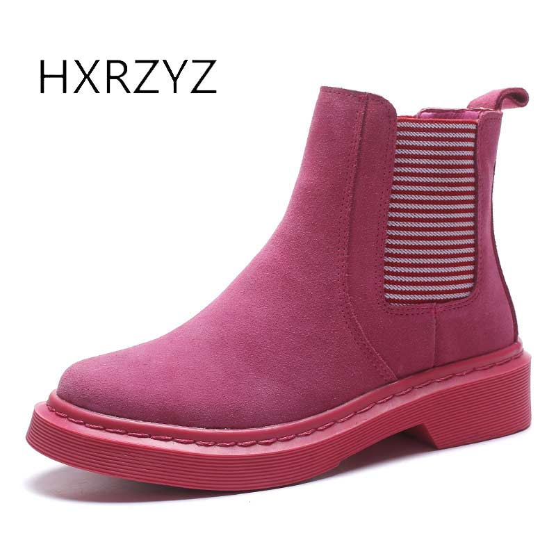 HXRZYZ women chelsea boots spring/autumn ankle boots woman hot new fashion of genuine leather round toe suede women winter shoes front lace up casual ankle boots autumn vintage brown new booties flat genuine leather suede shoes round toe fall female fashion