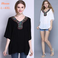 2015 Brand Woman Blouses Cotton Blended Plus Size Shirt Women Clothing Bead Embroidery Loose Tops Casual