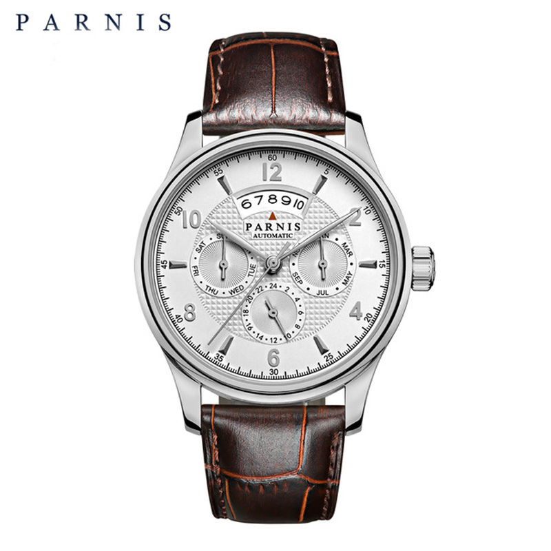 42mm Parnis Mens Watches Top Brand Luxury Mechanical Watches Miyota9100 Auto Date Moon Phase Week Mechanical