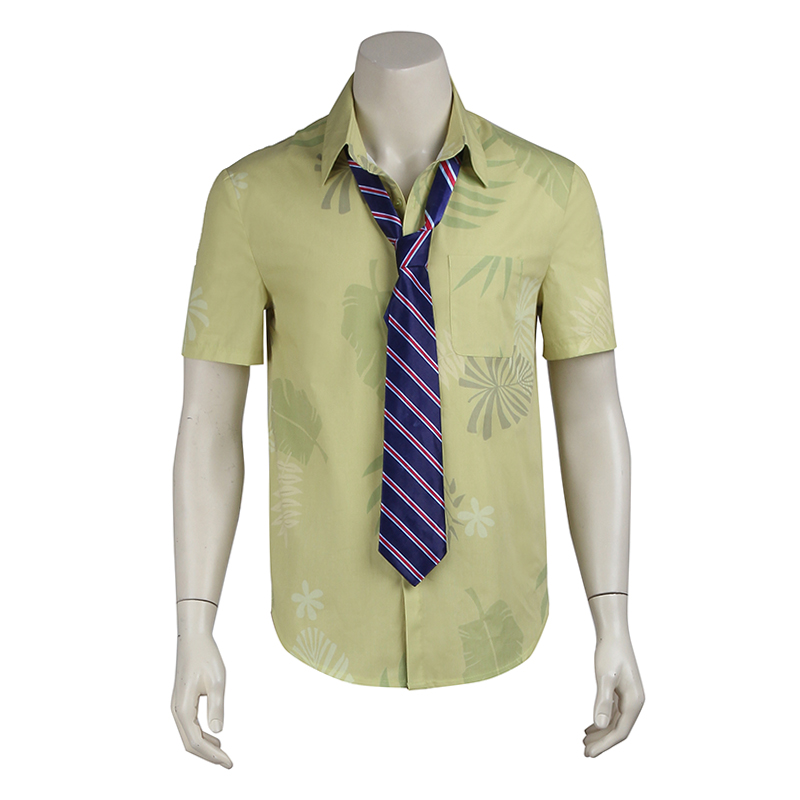 Zootopia Nick Wilde T-shirt Cosplay Costume Adult Men Fox Shirt Nick Wilde Cosplay Uniform Only Shirt And Tie Custom Made