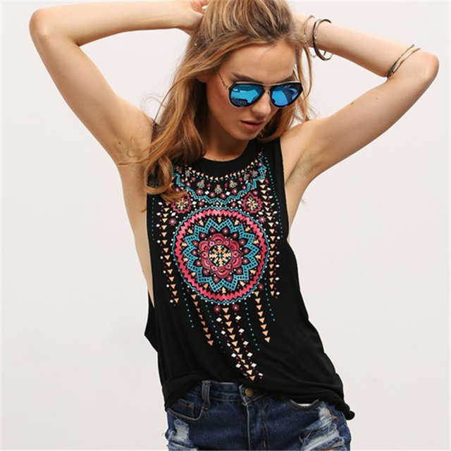 956ae1dee041d 2017 New Summer Shirts Style Women Fashion Sexy Blouse Black Round Neck  Sleeveless Vintage Tribal Print
