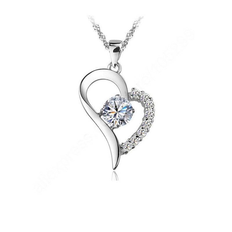 Bulk Collection Pendant Necklace Set 925 Sterling Silver CZ Crystal Heart Pendant Necklace For Lady Jewellery Accessories