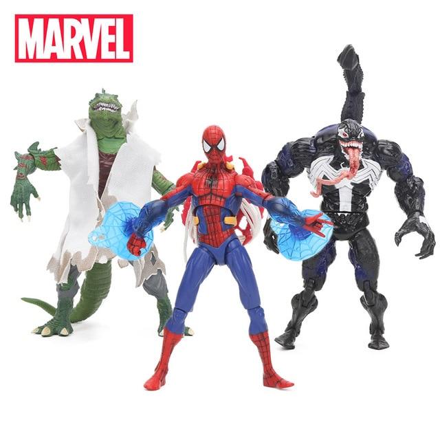 18 cm Brinquedos do Homem-Aranha Veneno Lagarto Carnificina Maravilha Superhero Spiderman Figuras PVC Action Figure Collectible Modelo Toy Boneca