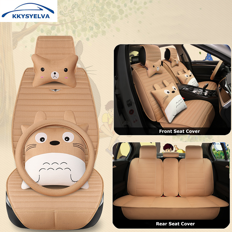 KKYSYELVA Cartoon Comfortable Breathable Car Seat Cover Lovely Pink Auto Seat Cushion Set Interior Accessories universal pu leather car seat covers front back seat cushion cover auto chair pad car interior accessories black