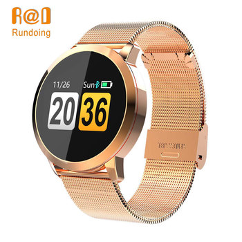 Rundoing Q8 Smart Watch OLED Color Screen men Fashion Fitness Tracker Heart Rate Blood Pressure Oxygen Smartwatch new garmin watch 2019