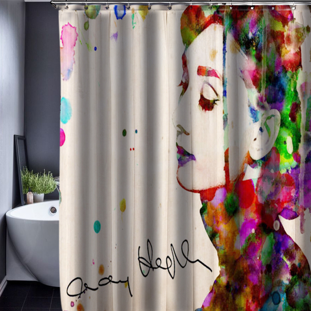 Audrey Hepburn Shower Curtain Customized Waterproof Bathroom Fabric 165x180cm For