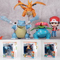 10 cm Caixa de Varejo Anime Red & Charizard & Bulbasaur Charmander Blastoise & Venusaur Figura de Ação brinquedos