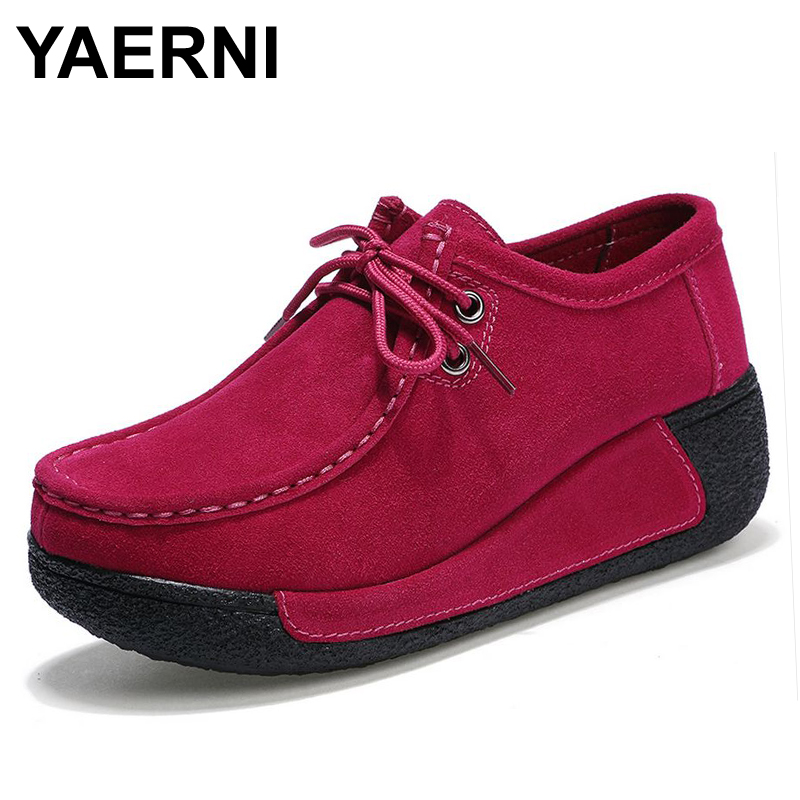 YAERNI spring women platform shoes women casual shoes   leather     suede   platform shoes women flats ladies lace up creepers 862