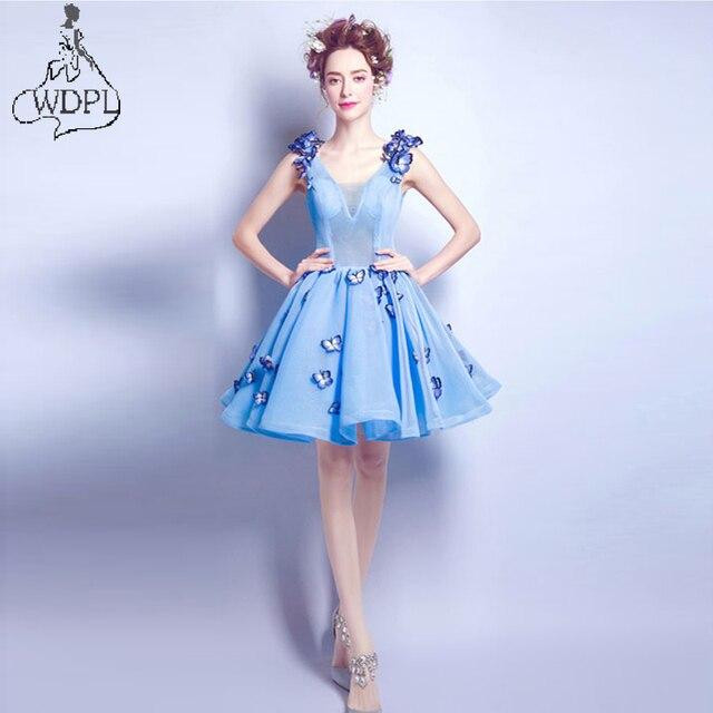2017 Butterfly Embroidery Cocktail Dresses Short Prom Dresses Graduation  Gowns Blue Party Dresses Vestido Vestidos De Graduacion 9683f94f764d