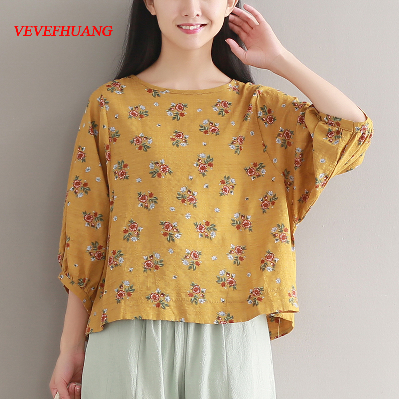 Floral Printed Summer Tops 2018 New Three Quarter Sleeve shirts Women Lantern Sleeve Cotton and Linen Vintage shirt Clothes