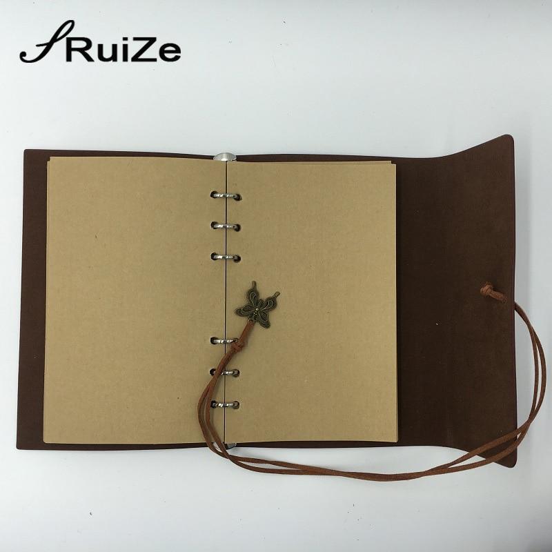RuiZe travel journal notebook vintage lederen dagboek blanco - Notitieblokken en schrijfblokken bedrukken - Foto 3