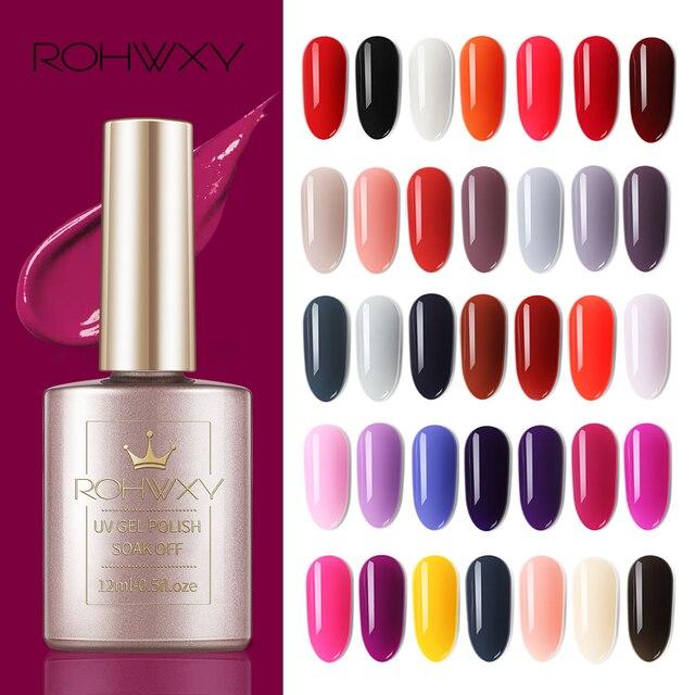 ROHWXY לק ג 'ל מניקור מקצועי עיצוב 146 צבעים לכה מסמר ג' ל היברידי נייל UV ג 'ל ארוך- שנמשך ציור