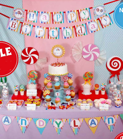 Candyland Birthday Party Candy Cupcake Topper Decorations Kids Banner Supplies