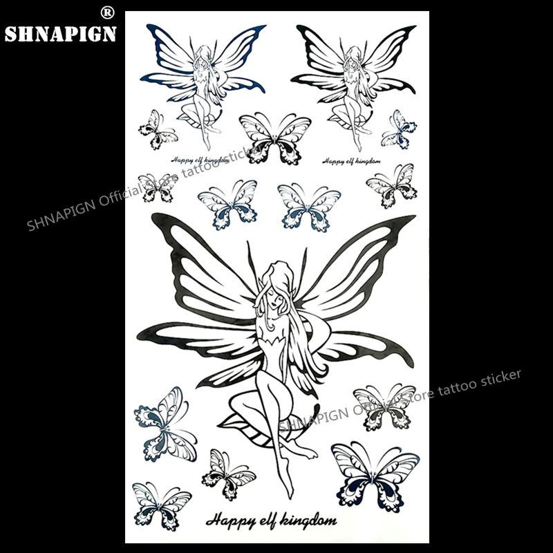 92afa674a81f8 SHNAPIGN Butterfly Elf Fairy Temporary Tattoo Body Art Arm Flash Tattoo  Stickers 17 10cm Waterproof Fake Henna Painless Sticker