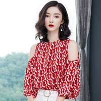 2018 Early Autumn New 3 Quarter Sleeve Off Shoulder Chiffon Shirt Print Blouse Red